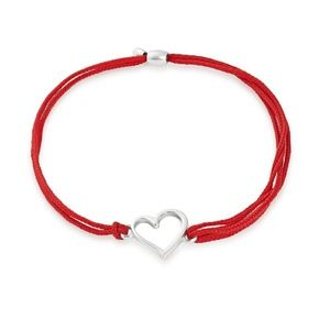 Sterling Silver Heart Pull Red Cord Bracelet